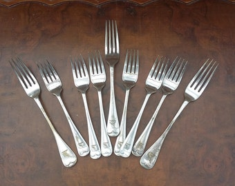 Vintage Elkington Silver Plate Forks Nine Old Forks 1920's
