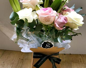 Personalised Fresh Box Bouquet  printed with Happy Birthday