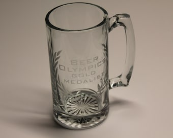 Etched Mug, Beer Mug, Etched beer glass, etched beer mug, beer olympics, mug, liter mug, etched glass, ready to ship, adult gifts, gift
