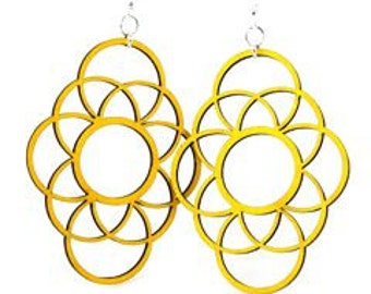 Large circleapolics  - Wood Earrings
