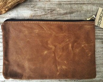 brown zipper pouch, waxed canvas and chambray