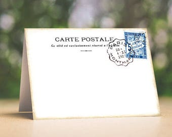 Wedding Place Cards Vintage Style French Postmark Postcard Tent Style Wedding Place Cards or Table Place Cards #109