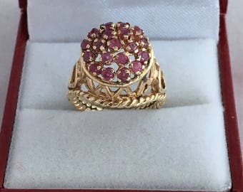 Gorgeous 14K Gold  20 Ruby / Tourmaline Round High Relief Double Rope Band Design Ring