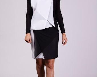 Mini skirt, origami skirt, balck and white skirt, jursey skirt