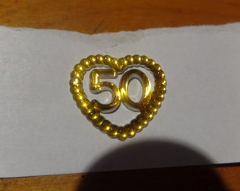 24 gold acrylic number  #50 in a heart  charms  for favors /capias