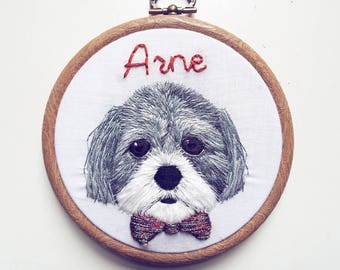 "Custom embroidered pet portrait - 4"" embroidered hoop art"