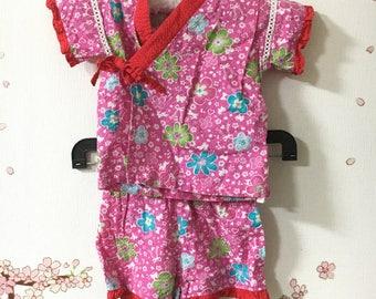 Toddler Kimono, Pink Flower Design, Baby Kimono, Child Kimono, Baby Gifts, Baby Jinbei, Photo Prop Idea, Ninja Outfit, Kawaii