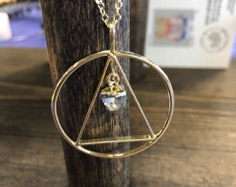 READY TO SHIP clear quartz with triangle necklace on gold plated chain