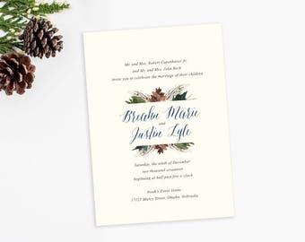 Evergreen Wedding Invitations, pinecone wedding invite set, pine watercolor wedding invitation BREAHN - DEPOSIT