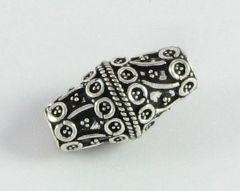 Large Hole Bead Bali Sterling Silver Bicone Focal Bead 24mm with Large 4.5mm Hole (1 bead)