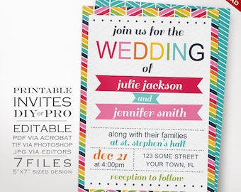 Wedding Invitation Template - Same Sex Wedding Invitation - Printable DIY Rainbow Same Sex Wedding Invite Editable Lesbian Wedding Invite