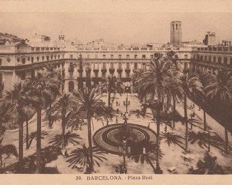 Barcelona, Spain,Plaza Real - Vintage Postcard - Antique Postcard - B&W - Photo Postcard - Unused ~ No:39