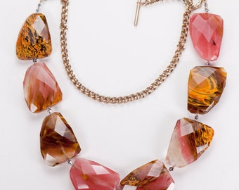 Statement Necklace Huge Faceted Chunky Marble Agate Swirl Lucite Beads Vintage