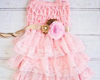 Flower Girl Dress / Country Flower Girl Dress / Lace Dress for Girls, Rustic Flower Girl / Champagne Pink Lace Flower Girl Dress