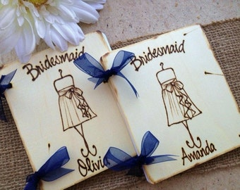 SET of 4 Gifts for Bridesmaids Scrapbook Photo Journal Personalized for each Girl with HER Dress & Name Maid of Honor Wedding Gift