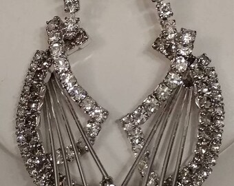 S*A*L*E* Designer PRESTIGE Rhinestone Necklace, Clip On Earrings, Exquisite, Matching Set, Silver Setting, Runway, Art Nouveau, Formal Wear