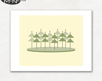 FOREST (v1), Modern Mid Century Abstract, Giclee Fine Art Print for the Home Decor
