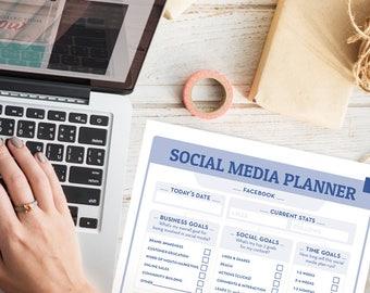 Social Media Planner   Marketing Planner   Monthly Planner, blog planner, business planner, social media, social media tracker, goal tracker