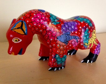 Oaxacan bear alebrije- Oaxaca, Mexico folk art - Mexican wood carving
