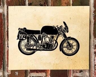 KillerBeeMoto: Limited Print Vintage Italian Engineered Cafe Racer Motorcycle Print 1 of 50