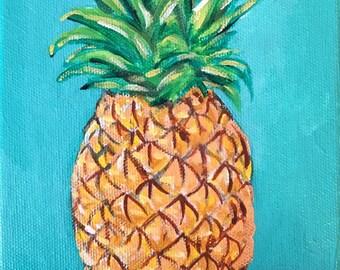Original Acrylic Painting- Pineapple - Art by Amanda Shelton - fruit still life decorative art