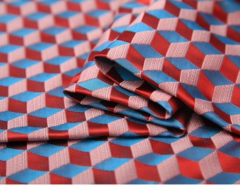 90cm width diamond rhombus blue pink tapestry satin  brocade by yard for curtain sewing