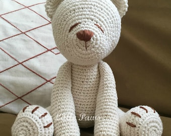 Baby's First Teddy Bear | Nursery Decor | Classic Teddy Bear | Crochet Teddy Bear | Knit Teddy Bear | Unique Baby Gift | Baby Safe Bear