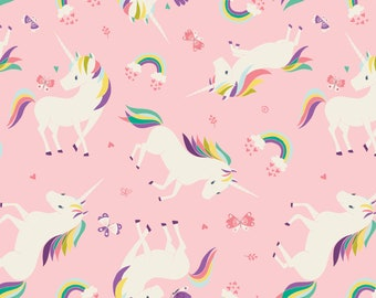 Unicorns and Rainbows in Pink from Camelot Fabric's I Believe in Unicorns Collection by Heather Rosas 100% Cotton cf61170605