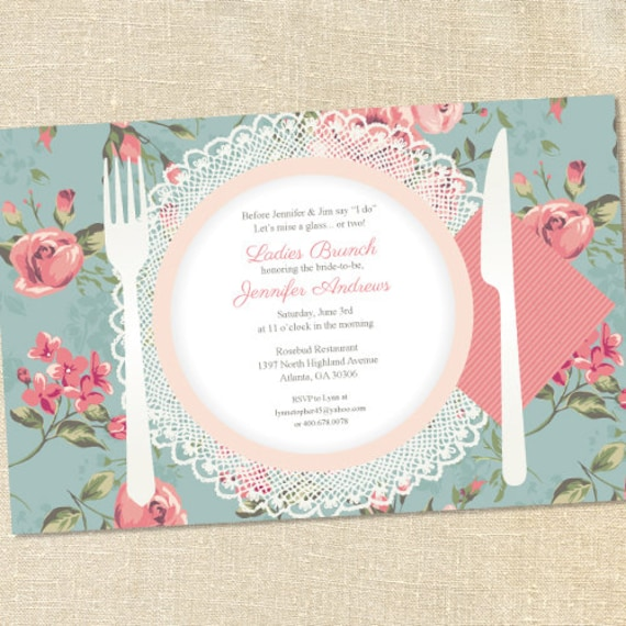 Sweet Wishes Vintage Roses Bridal Brunch Luncheon Invitations