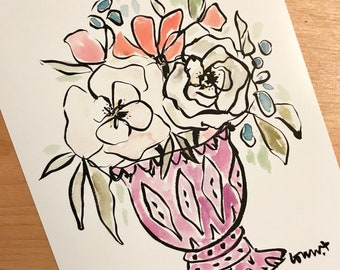 Pen and Ink Floral Illustration, Whimsical Bouquet, Modern Floral, Archival Quality 8x10 print