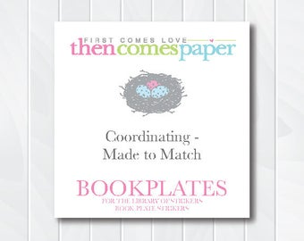 Made to Match Bookplate Stickers - Coordinating This Book Belongs to - For the Library of - Stock the Library Story Book FREE SHIPPING
