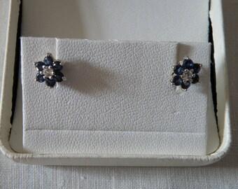 Sterling Silver Cobalt Blue CZ Star Earrings