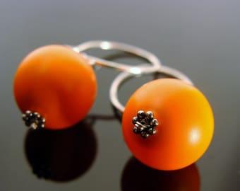 Swarovski Crystal Neon Orange Sterling Silver Earrings
