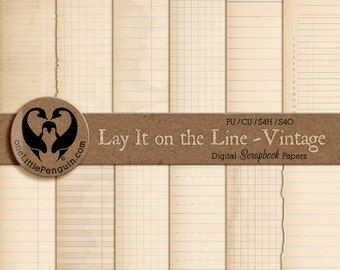 TREASURY LISTED Lay It on the Line - Vintage, Digital Ledger, Graph, & Note Papers, pu cu s4h s4o