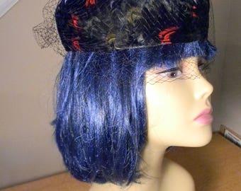 Vintage Pillbox hat w/Veil Jackie Kennedy Feather Pillbox hat Feather Hat w/Veil Pillbox hat w/feathers Hat w/Merry Widow Veil 60s Pillbox