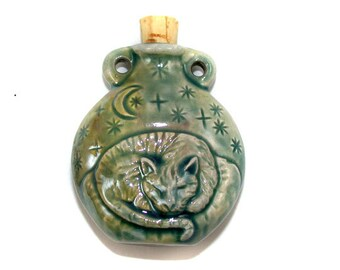 Raku Ceramic Bottle Bead - Cat - peruvian, ceramic, hemp
