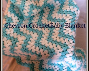 Baby Shower Handmade Crochet Baby Blanket Baby Turquoise and White Baby Afghan Baby Shower Gift Neutral Chevron Crochet Baby Blanket Boy Gir