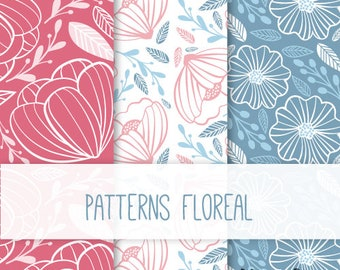 printable Kit background (PATTENRS) floral + Digital paper