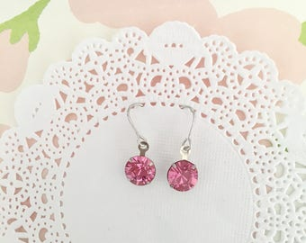 Dainty barely there pink Swarovski drop earrings. Dainty minimalist Pink swarovski crystal drop earrings