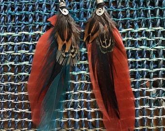 Bohemian Feather Earrings - Festival Earrings - Hippie Earrings - Hippie Jewelry - Goddess Earrings - Goddess Jewelry