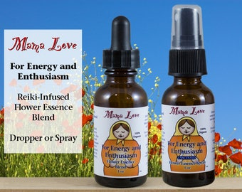 Energy and Enthusiasm Flower Essence, Dropper or Spray, Organic, Reiki-Infused North American and Bach Flowers, Unscented