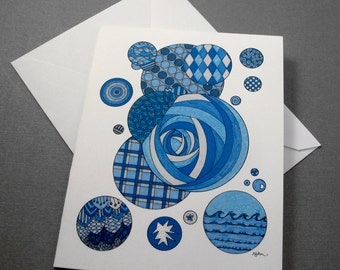 Bubbles Stationery Set - Set of 8 Blank Inside Card Set - Blue