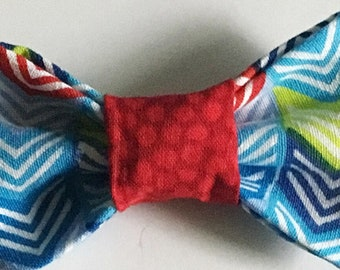 Red and Blue Chevron  Bow Tie for Male Cat and Dog Collar