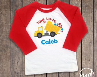Valentines Shirt Boy, Tons of Love Dump truck Raglan, Personalized Boy Valentines Day Shirt, Toddler Boy Valentine Shirt, Outfit