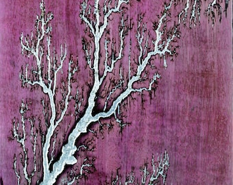 Purpleheart Lichtenberg With Silver Inlay