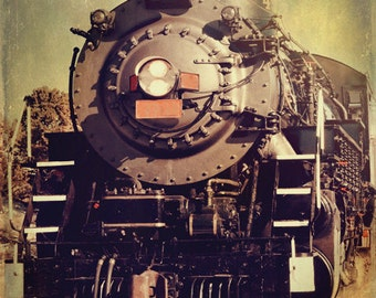 Vintage Train Art Print - Nursery Black Red Yellow Baby Boy Childrens Room Decor Photograph
