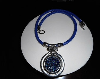 Blue leather cord, leather cord necklace, silver and blue pendant, gift for her, women blue leather cord necklace, accesories, teen bluecord