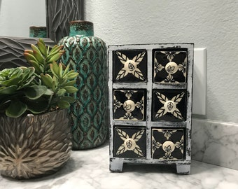 Apothecary Spice Cabinet 6 Ceramic Drawer Herb Storage Box Black & White, Unique Jewelry Box Shabby Chick Style, Item #606876341