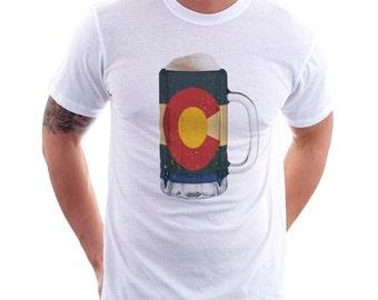 Colorado State Flag Beer Mug Tee, Unisex,  Home State Tee, State Pride, State Flag, Beer Tee, Beer T-Shirt, Beer Thinkers, Beer Lovers Tee