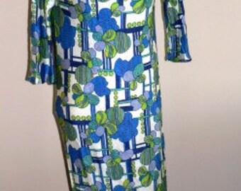 vintage retro maxi dress ... FUNKY bright 70s poly fortrel MAXI DRESS   ...